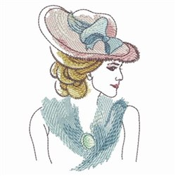 Watercolor Lady embroidery design