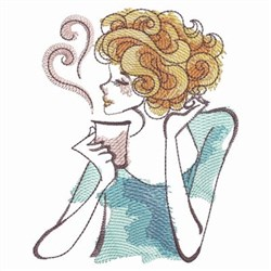 Lady & Coffee embroidery design