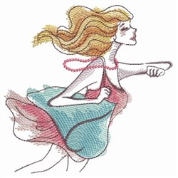 Running Lady embroidery design