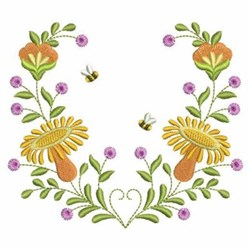 Bumblebee Flowers embroidery design