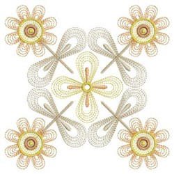 Rippled Flower Quilt embroidery design
