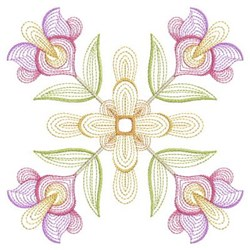Floral Rippled Quilt embroidery design