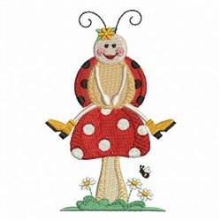 Ladybug On Mushroom embroidery design