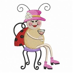Ladybug In Chair embroidery design