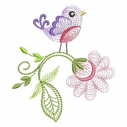 Rippled Colorful Bird embroidery design