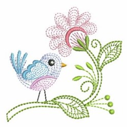 Rippled Flower Bird embroidery design