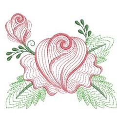 Rippled Rose Bud embroidery design