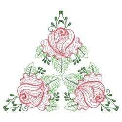Rippled Roses Triangle embroidery design