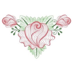 Rippled Triangle Roses embroidery design