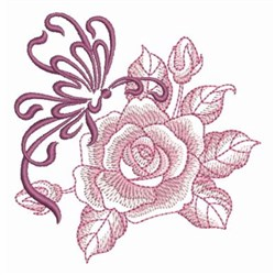 Sketched Rose & Butterfly embroidery design