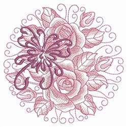 Rose & Butterflly Circle embroidery design