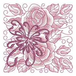 Butterfly Rose Block embroidery design