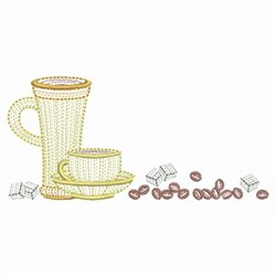 Rippled Coffee Cups embroidery design