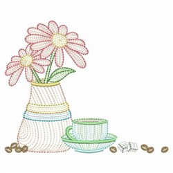 Daisies & Coffee embroidery design