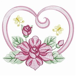 Rippled Rose Heart embroidery design