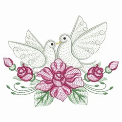 Rippled Rose Doves embroidery design