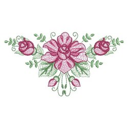 Rippled Rose Triangle embroidery design