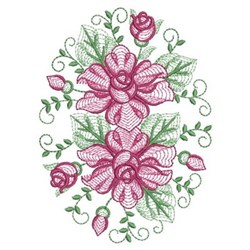 Rippled Roses Oval embroidery design