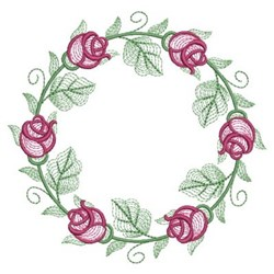Rippled Rose Wreath embroidery design