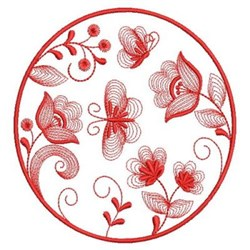 Redwork Rippled Garden embroidery design