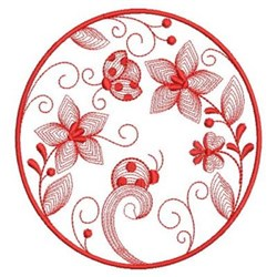 Redwork Ladybug Garden embroidery design