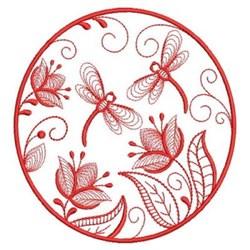 Redwork Dragonfly Garden embroidery design