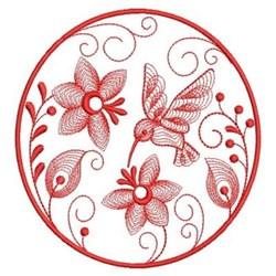 Redwork Hummingbird Garden embroidery design