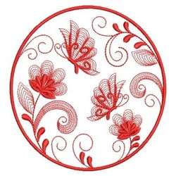 Redwork Butterfly Floral embroidery design