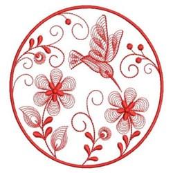 Redwork Hummingbird Flowers embroidery design