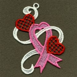 FSL Pink Ribbon Hearts embroidery design