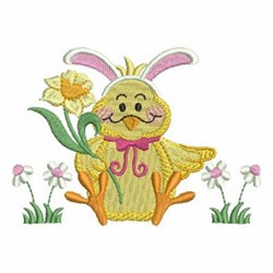 Easter Chick & Daffodil embroidery design