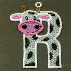 FSL Cow Letter R embroidery design