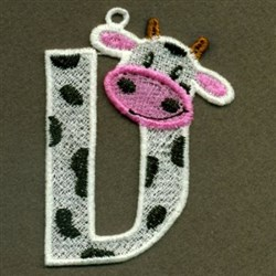 FSL Cow Letter V embroidery design