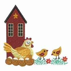 Primitive Hen & Chicks embroidery design