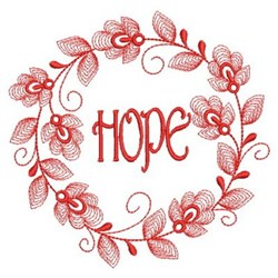 Redwork Hope Wreath embroidery design
