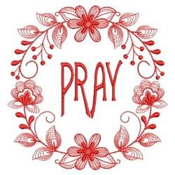 Redwork Pray Wreath embroidery design