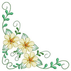 Heirloom Floral Corner embroidery design