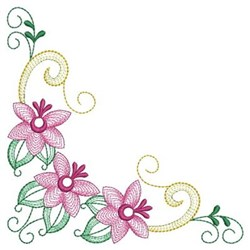 Rippled Corner Flowers & Ribbons embroidery design