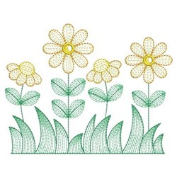 Row Of Daisies embroidery design