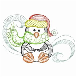 Rippled Swirly Penguin embroidery design