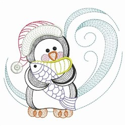 Rippled Penguin & Fish embroidery design