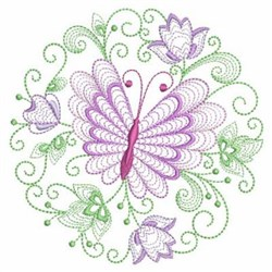 Rippled Dancing Butterfly Circle embroidery design