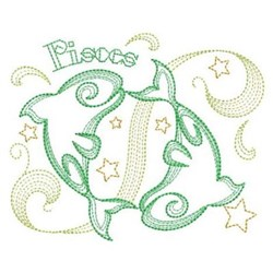 Rippled Zodiac Pisces Symbol embroidery design