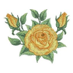 Realistic Yellow Roses embroidery design