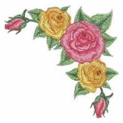 Colorful Rose Corner embroidery design