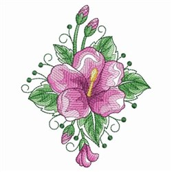 Watercolor Hibiscus Diamond embroidery design