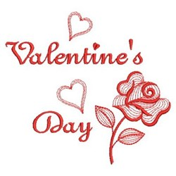 Redwork Valentines Day embroidery design