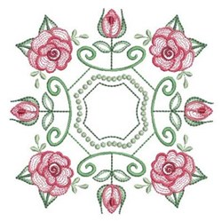 Swirly Rose Quilt Block embroidery design