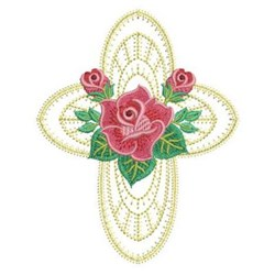 Heirloom Red Rose Cross embroidery design