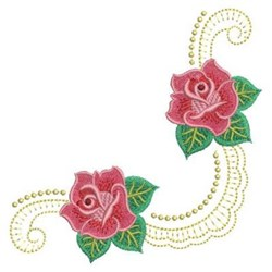 Heirloom Red Roses & Swirls embroidery design